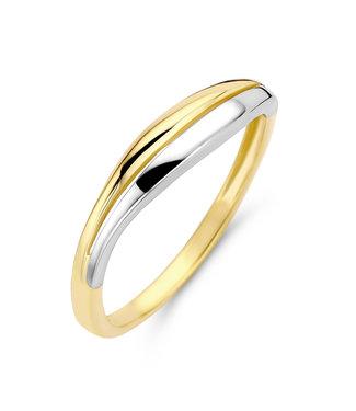 Excellent Jewelry Bicolor wit- en geelgouden damesring. RB405349