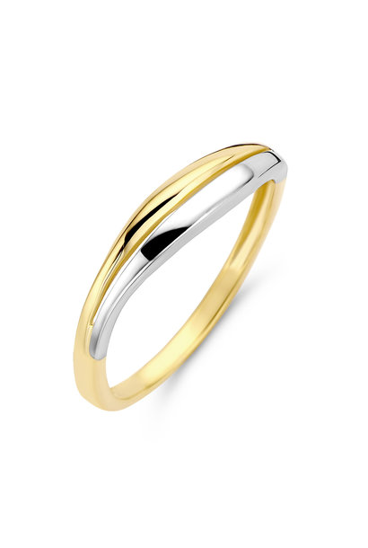 Bicolor white and yellow gold ladies ring. RB405349