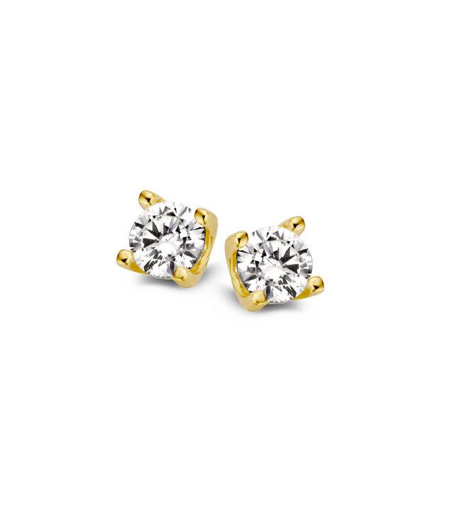Excellent Jewelry Oorsteker geelgoud zirkonia