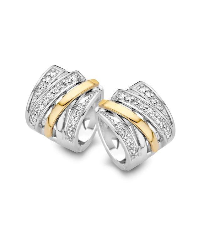 Excellent jewelry Creool zilver/goud zirkonia 10mm