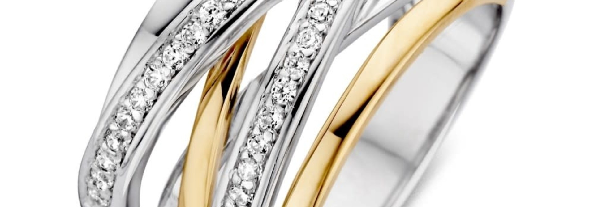 Ring Silver / Gold zirconia RF625178