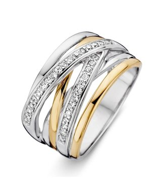 Excellent Jewelry Ring zilver/goud zirkonia RF625178