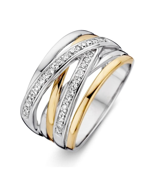Excellent jewelry Ring zilver/goud zirkonia RF625178