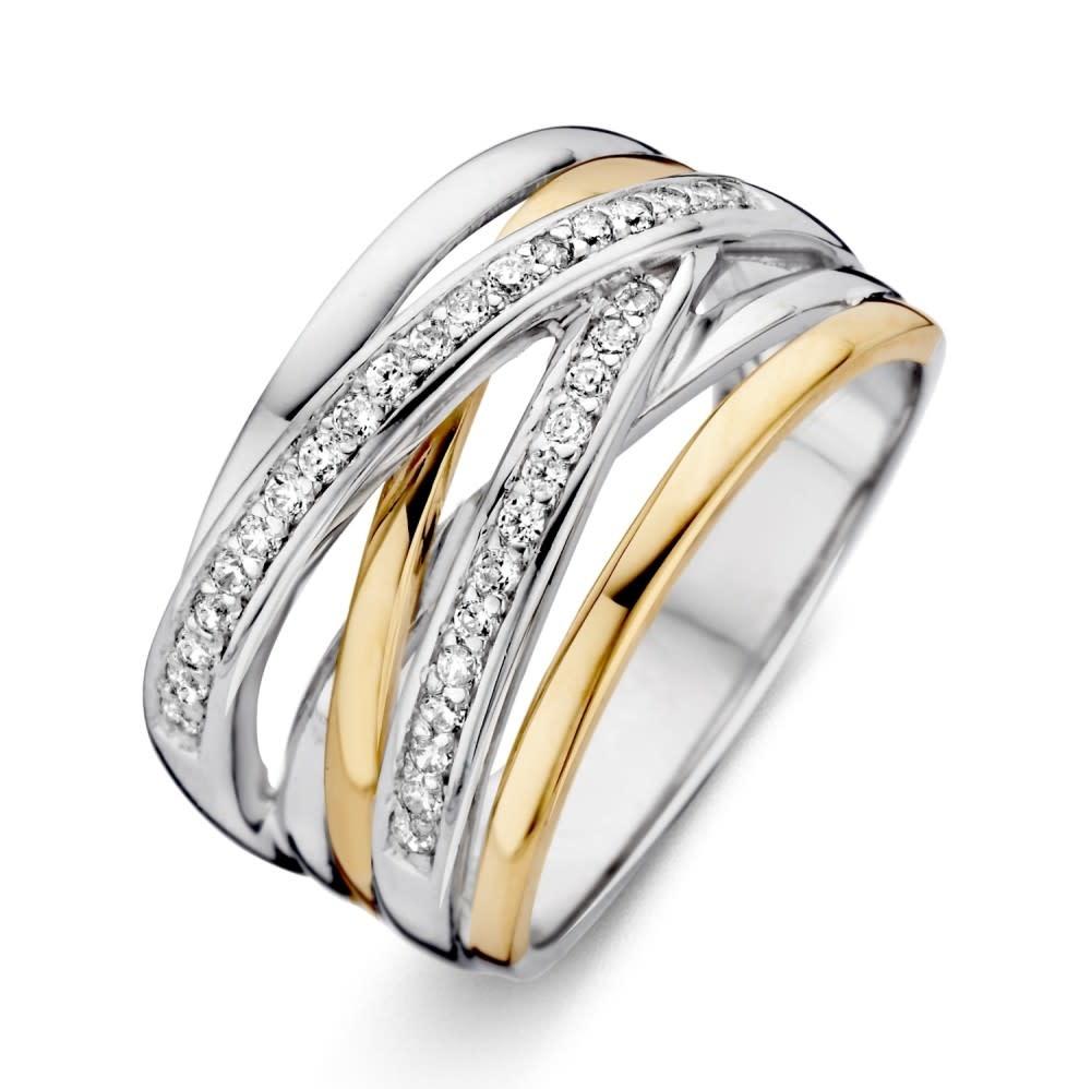 Ring Silver / Gold zirconia RF625178-1