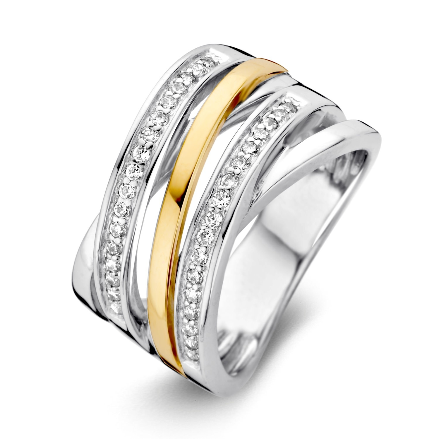 Ring Silver / Gold zirconia RF625214-2