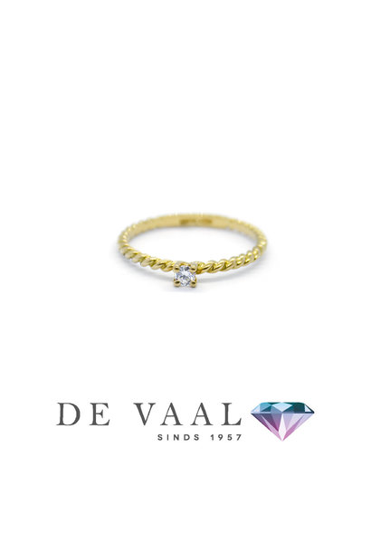 Yellow gold solitary ring twist 18k.