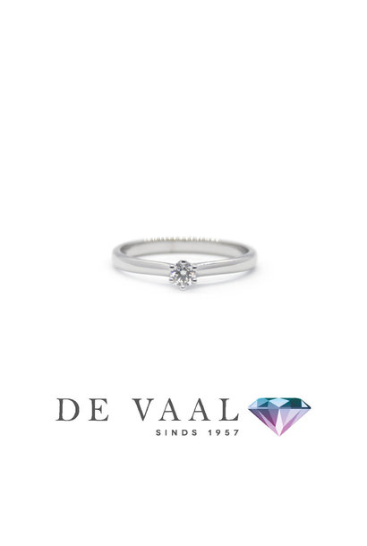 White gold solitaire ring royal 18k.