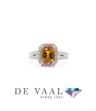 Bloch & Co Witgouden saffier ring oranje