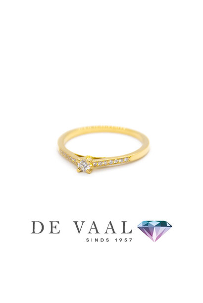 Yellow gold solitary ring 18k. model 26
