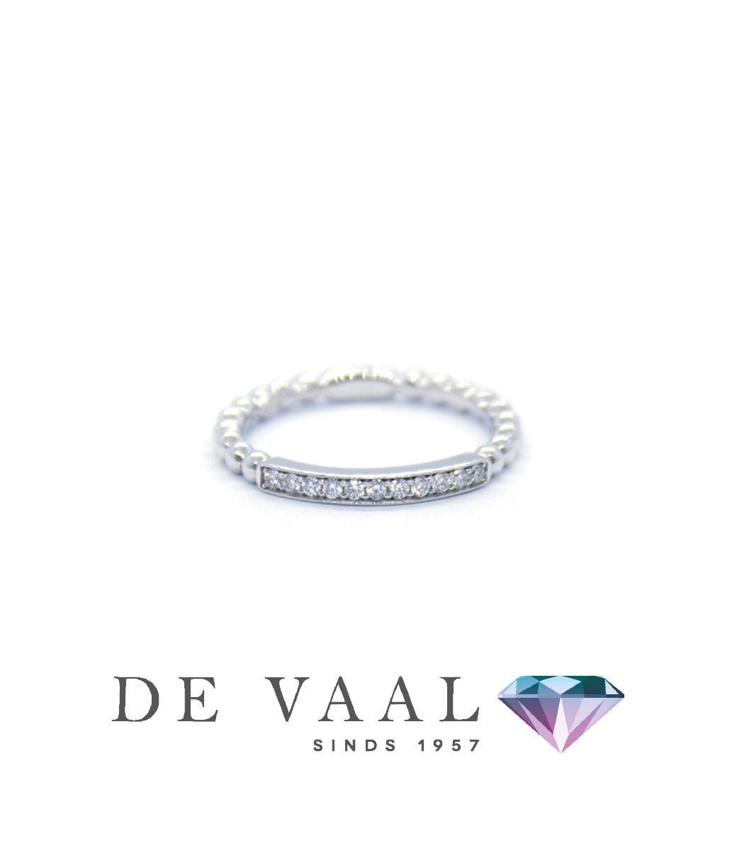 As White gold ring with bead 18k.-1