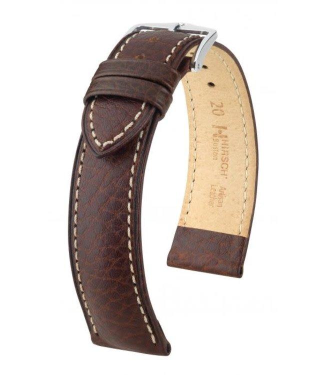 Hirsch Horlogebandje Boston, Artisan Leather Kalfsleer Bruin