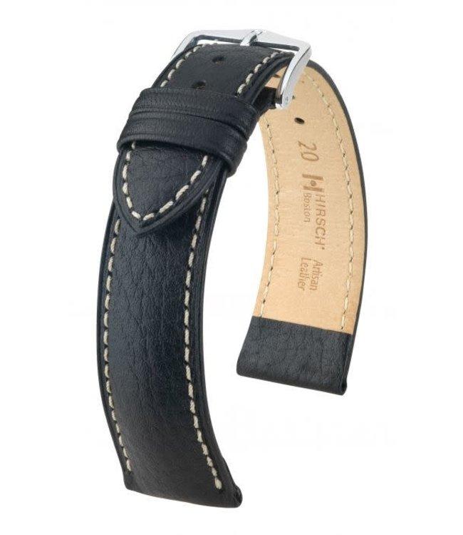 Hirsch Horlogebandje Boston, Artisan Leather Kalfsleer Zwart