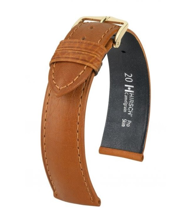 Hirsch Horlogebandje Camelgrain Pro Skin Kalfsleer Honing