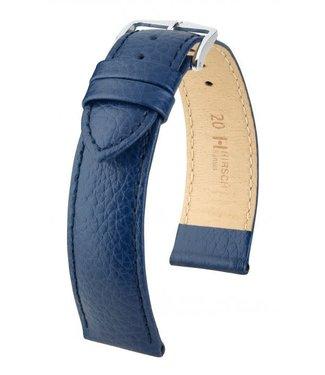 Hirsch Horlogebandje Kansas Kalfsleer Blauw