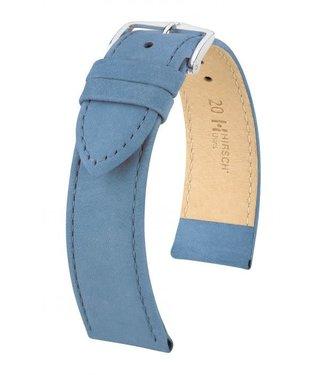 Hirsch Horlogebandje Osiris Kalfsleer Nubuk Blauw