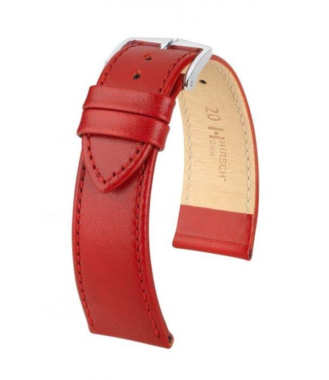 Hirsch Horlogebandje Osiris Rundboxleer Rood