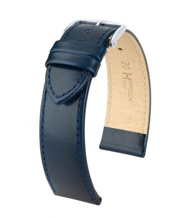 Hirsch Horlogebandje Osiris Rundboxleer Blauw