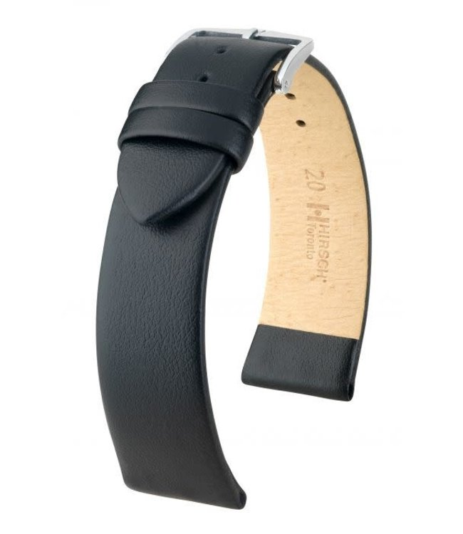 Hirsch Horlogebandje Toronto Kalfsleer Zwart