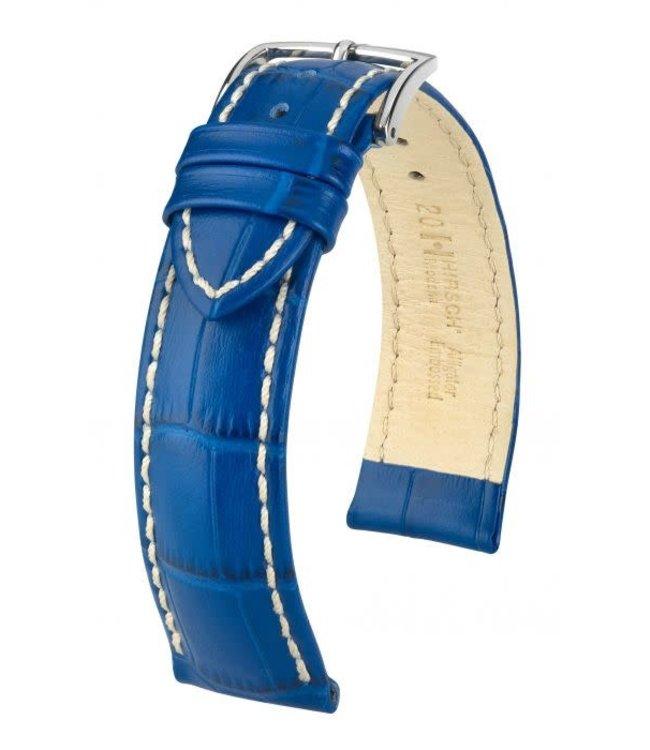 Hirsch Horlogebandje Modena Alligator embossed Kalfsleer Koningsblauw