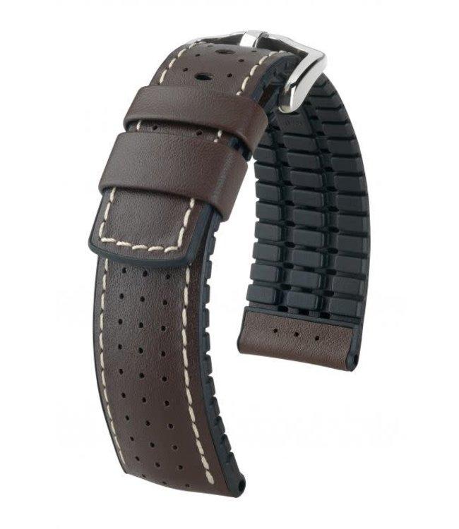 Hirsch Horlogebandje Tiger Kalfsleer + Premium Caoutchouc (Rubber) Bruin
