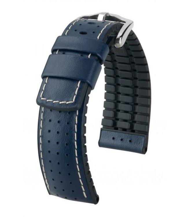 Hirsch Horlogebandje Tiger Kalfsleer + Premium Caoutchouc (Rubber) Blauw