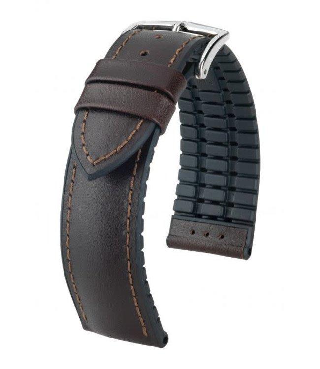 Hirsch Horlogebandje James Kalfsleer + Premium Caoutchouc (Rubber) Bruin