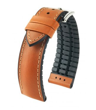 Hirsch Horlogebandje James Kalfsleer + Premium Caoutchouc (Rubber) Goudbruin