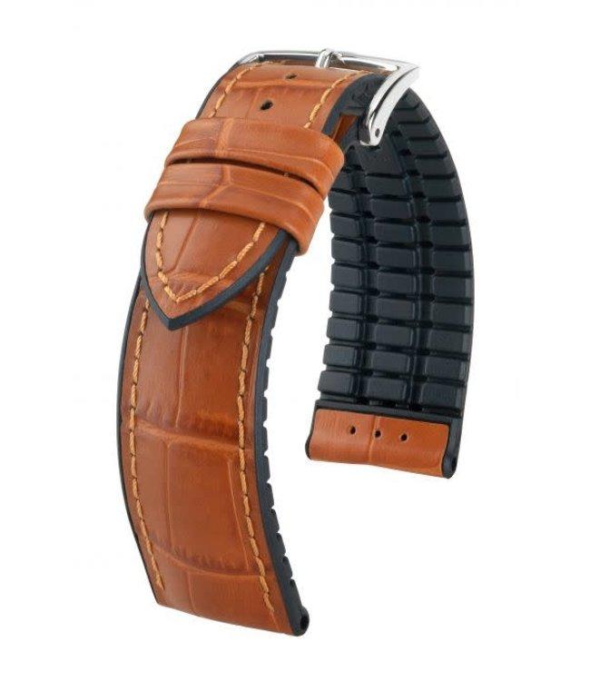 Hirsch Horlogebandje Paul Kalfsleer + Premium Caoutchouc (Rubber) Honing