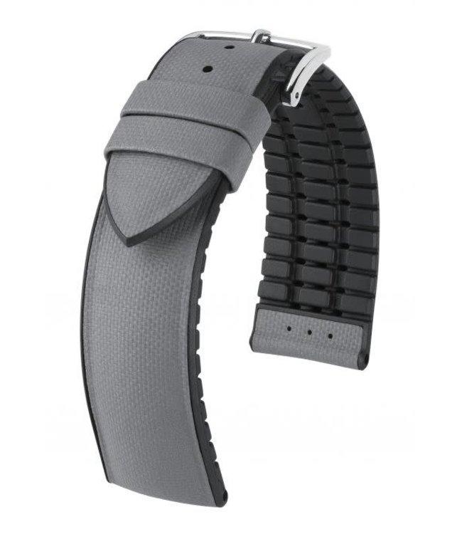 Hirsch Horlogebandje Arne Kalfsleer + Premium Caoutchouc (Rubber) Grijs