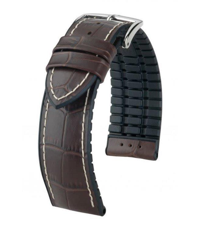 Hirsch Horlogebandje George Kalfsleer + Premium Caoutchouc (Rubber) Bruin