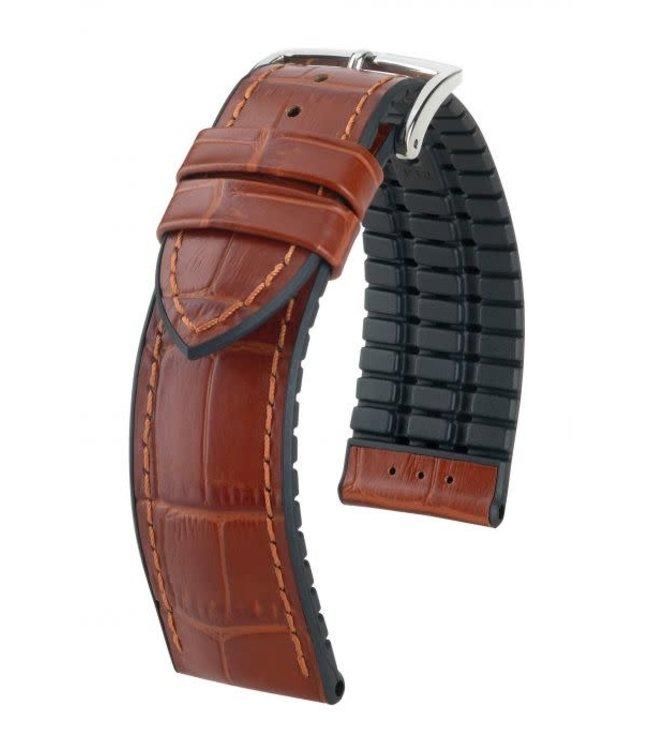 Hirsch Horlogebandje Paul Kalfsleer + Premium Caoutchouc (Rubber) Goudbruin