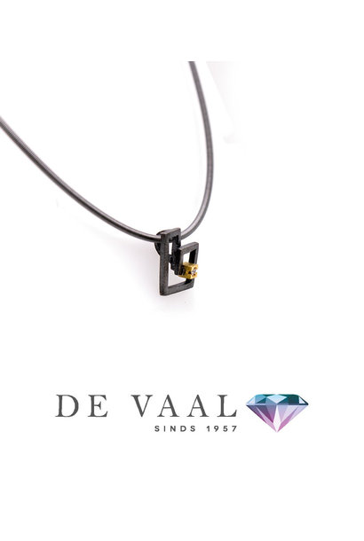 Zoom silver & gold pendant Diamant 0,015Ct.