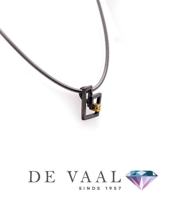 Zoom silver & gold pendant Diamant 0,015Ct.