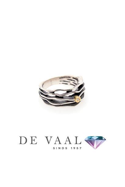 Multi Fi 5 silver & gold ring Diamant 0,015Ct.