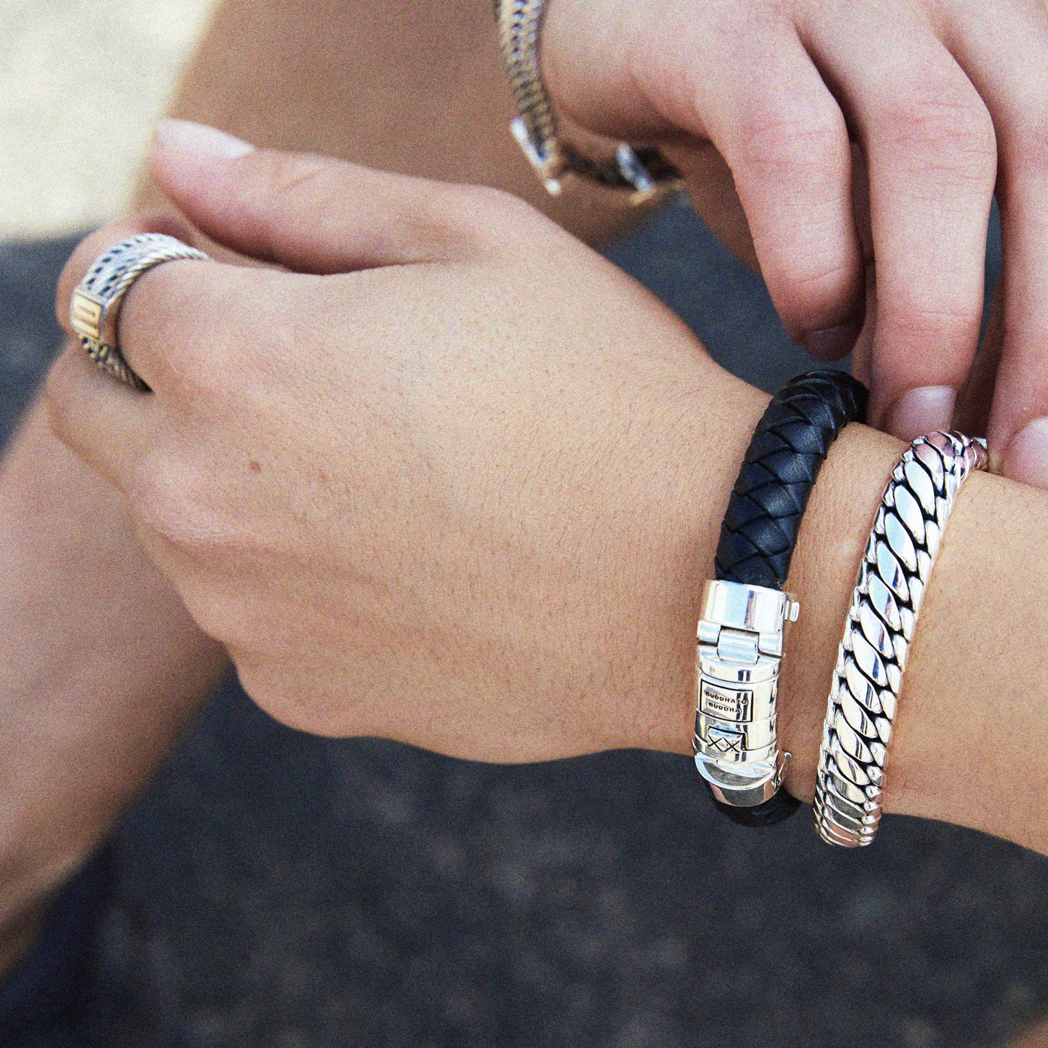 Bracelet Ben Customized Set Silver & Leather-2