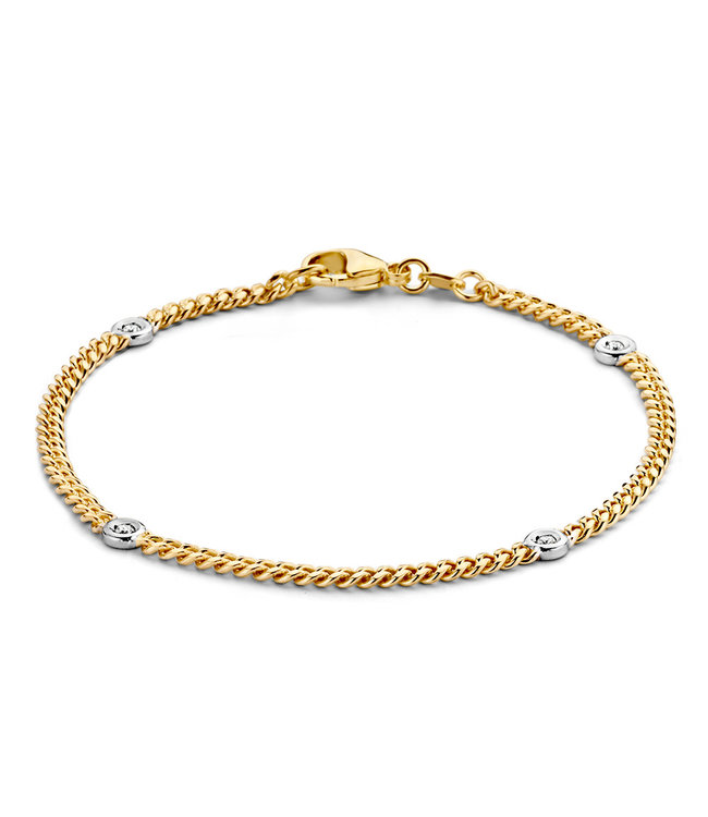 Excellent Jewelry Armband bicolor briljant 0,10 crt.