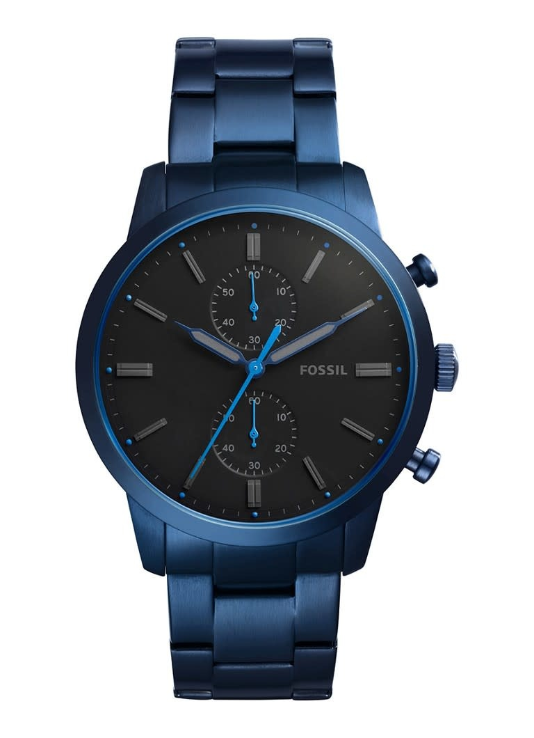 Fossil Townsman 44mm Chronograph Blue Stainless Steel Watch FS5345-1