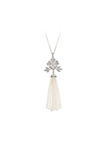 "Necklace pendant ""Aida tassel"" in silver with fresh water pearl tassels"