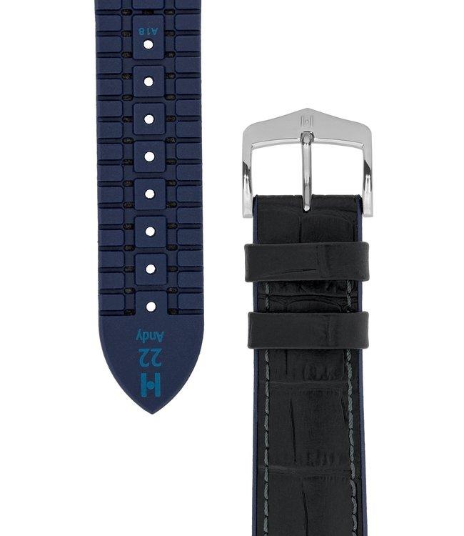 Horlogebandje Andy Kalfsleer + Premium Rubber 18 mm
