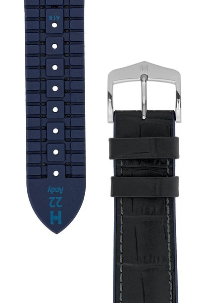 Watchband Andy calf leather + Premium Rubber 22 mm