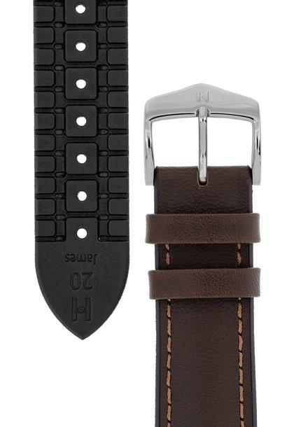 Watchband James calf leather + Premium Caoutchouc (Rubber) 18 mm