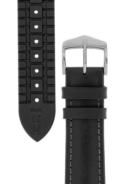 Watchband James calf leather + Premium Caoutchouc (Rubber) 20 mm