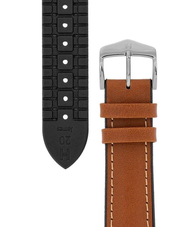 Horlogebandje James Kalfsleer + Premium Caoutchouc (Rubber) 20 mm