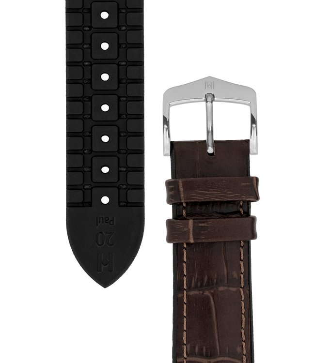 Hirsch Watchband Paul calf leather + Premium Caoutchouc (Rubber) 21 mm