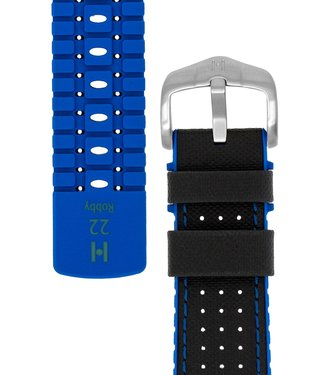Hirsch Watchband Robby calf leather + Premium Rubber 22 mm