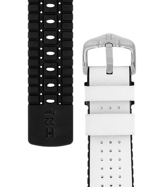 Hirsch Horlogebandje Tiger Kalfsleer + Premium Caoutchouc (Rubber) 22 mm