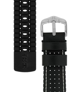 Hirsch Horlogebandje Tiger Kalfsleer + Premium Caoutchouc (Rubber) 21 mm