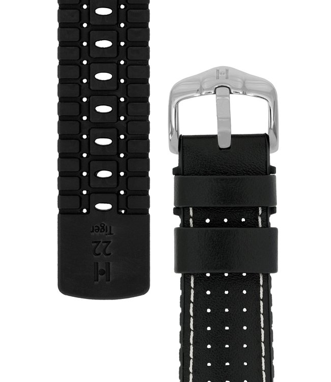 Hirsch Watchband Tiger calf leather + Premium Caoutchouc (Rubber) 21 mm