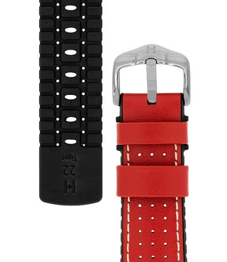 Hirsch Horlogebandje Tiger Kalfsleer + Premium Caoutchouc (Rubber) 18 mm