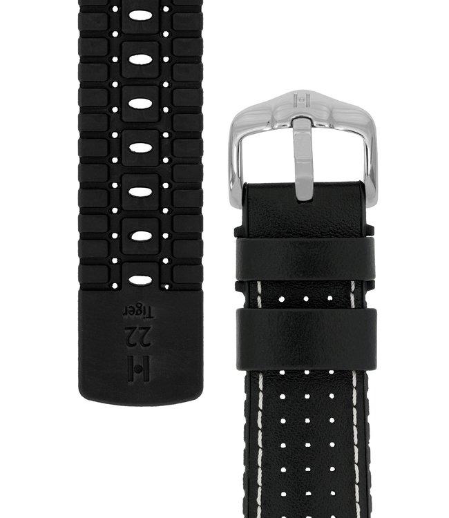 Horlogebandje Tiger Kalfsleer + Premium Caoutchouc (Rubber) 18 mm